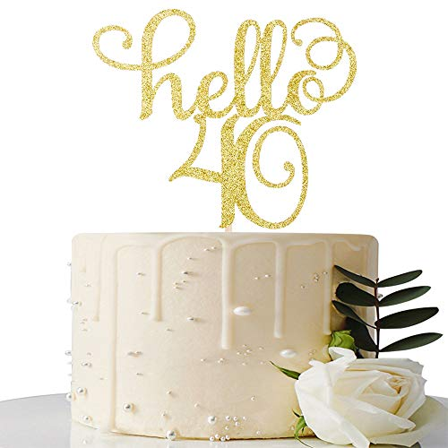 Hello 40 Cake Topper-40th Birthday/Wedding Anniversary Party Sign Decorations]()
