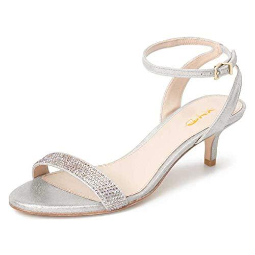 XYD Women Open Toe Ankle Strap Slingback Sandals Kitten Heel Rhinestone Studded Buckle Dress Pumps Size 9.5 Silver-Gray