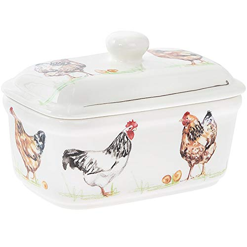 Country Life Chickens Design Fine China Butter Dish - Hen Farm Animals