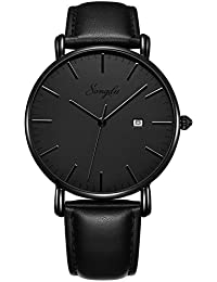 Men's Ultra-Thin Quartz Analog Date Wrist Watch with...