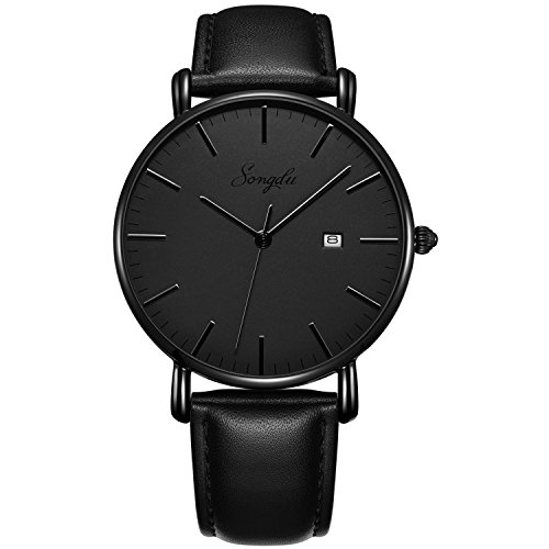 Black Leather Analog (SONGDU Men's Ultra-Thin Quartz Analog Date Wrist Watch Grey Dial with Black Leather Strap)
