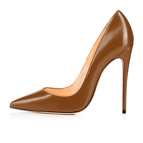 120mm Taille Aiguille Chaussures Escarpins Femme Pu Haut Marron Talons Talon Femmes Stilettos Grande Ubeauty nxwTZCSqqW