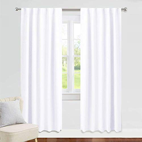 PONY DANCE White Window Curtains - 42 W x 84 L, Pure White Living Room Curtain Drapes Energy Saving Back Tab Window Treatments Thermal Insulated Panels for Home Decoration, 2 PCs (White Bright Curtains)