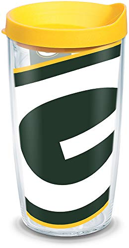 Tervis 1085179 NFL Green Bay Packers Colossal Tumbler with Wrap and Yellow Lid 16oz, Clear
