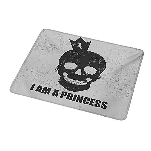 Anti-Slip Gaming Mouse Mat/Pad I am a Princess,Skull with a Crown Skeleton Halloween Theme Grunge Look,Charcoal Grey and Pale Grey,Gaming Non-Slip Rubber Large Mousepad 9.8