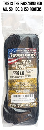 TOUGH-GRID 550lb Black Paracord/Parachute Cord - 100% Nylon Genuine Mil-Spec Type III Paracord Used by The US Military - Great for Bracelets and Lanyards - Made in The USA. 1000Ft. - Black by TOUGH-GRID (Image #3)