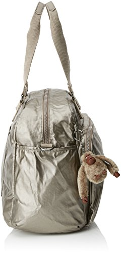 L Bag 45 July Kipling cm Metallic Tote Pewter 21 Travel H0Panqwnv