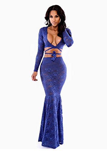 faa44a825ee25 Amazon.com  Dress Party Evening Elegant Vestidos Royal Blue Ivy Wrap Lace  Skirt Set LC6736 New 2015 Women Curto Vestidos De Renda  Sports   Outdoors