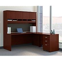 "Bush BBF Series C 72"" L-Shaped Desk with Hutch in Mahogany"