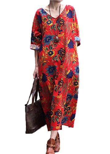 Celmia Womens Retro Plus Size Short Sleeve Baggy Casual Floral Printed Maxi Long Dress With Pockets Red Print XL