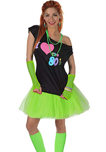Women's I Love The 80's T-Shirt 80s Outfit Accessories(M/L,Green) -