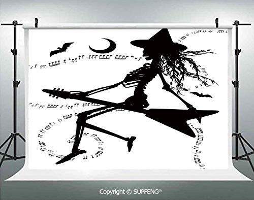 Photography Backdrops Witch Flying on Electric Guitar Notes Bat Magical Halloween Artistic Illustration 3D Backdrops for Photography Backdrop Photo Background Studio Prop -
