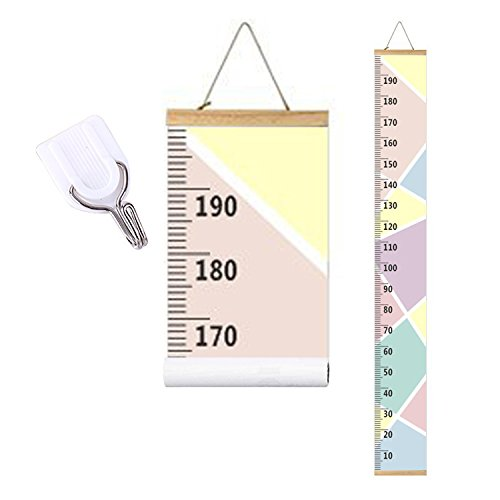 bingolar Kids Growth Chart, Children Height Chart Growth Wall Chart Height Wall Chart Art Hanging Rulers for Kids Bedroom Nursery Wall Decor Removable Height and Growth Chart(Pink 20cm x 200cm)