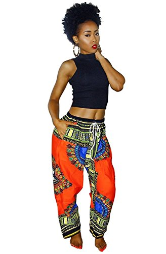 Aiphun Women Dashiki Casual Boho Loose Drawstring Waist Trousers Wide Leg Palazzo Pants