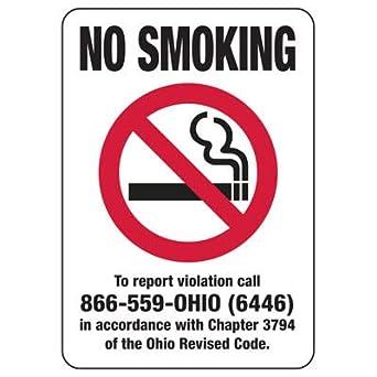 Amazon.com: Magnético Ohio Letrero De No fumar – 20