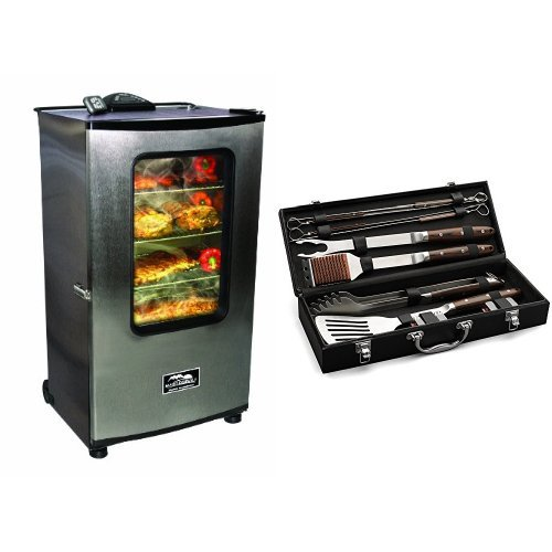Masterbuilt 20070311 40-Inch Top Controller Electric Smoker with Window and RF Controller with Cuisinart Grilling Set