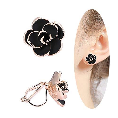 Clip on Earrings for Women, Non Pierced Earrings for Gifts (Black Rose Gold (Gold Plated Pierced Earrings)