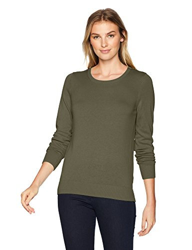 Cotton Blend Crewneck Sweater - Amazon Essentials Women's Lightweight Crewneck Sweater, -olive, X-Large