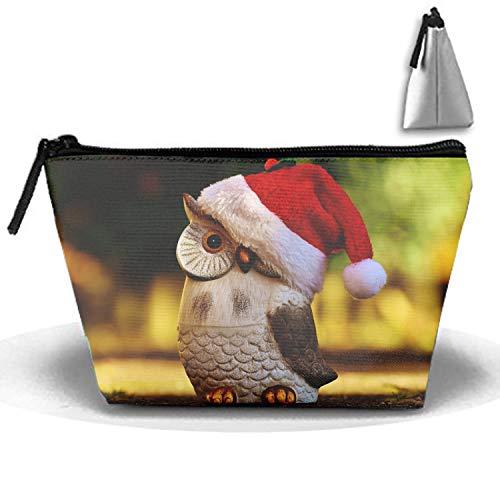 Pencil Figurines Santa (Owl Hat Santa Claus Figurine Stylish Toiletry Pouch Travel Protable Cosmetic Storage Bag Waterproof)