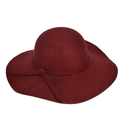 - Women Floppy Wide Brim Wool Felt Cap Tea Garden Church Party Cap Hat Foldable Classic Plain Color Sunhat Cap (Wine Red)