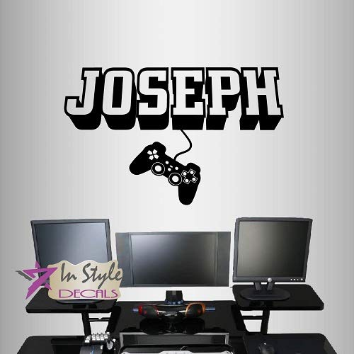 In-Style Decals Wall Vinyl Decal Home Decor Art Sticker 3D Personalized Name Boy Girl Gamer Controller Video Game Studio Teen Nursery Play Room Removable Stylish Mural Unique Design 2443