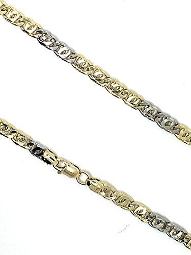 8-Bracelet Gourmette Or blanc 750/or jaune 18carats Bicolore Largeur 4.50mm