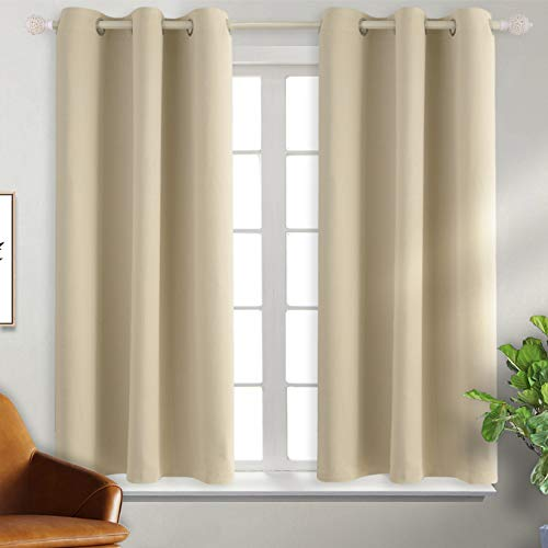 BGment Blackout Curtains - Grommet Thermal Insulated Room Darkening Bedroom and Living Room Curtain, Set of 2 Panels (38 x 45 Inch, Beige) (Liner Room Curtain Darkening)