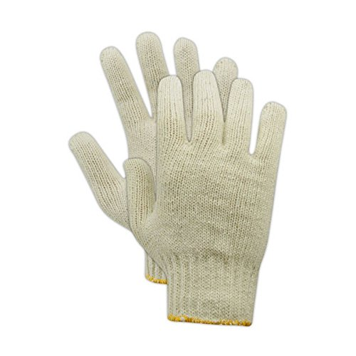 Jersey Reversible Gloves - Magid Glove & Safety T193MED-AMZN KnitMaster Standard Weight Machine Knit Gloves, Cotton Poly Blend, Medium, Natural (Pack of 12)