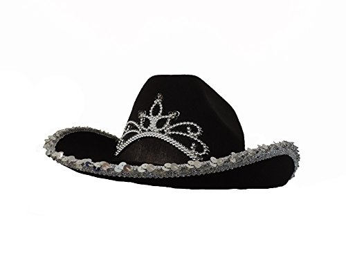 Black Cowboy Cowgirl Tiara Felt Light Up Rodeo Princess Hat -