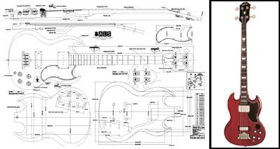 (Plan of Gibson EB-3 SG-Style Bass - Full Scale Print)