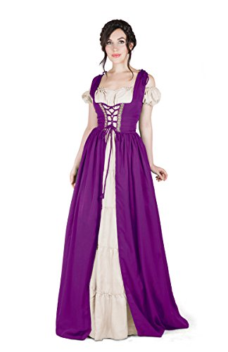 Renaissance Medieval Irish Costume Over Dress & Boho Chemise Set (S/M, Plum)