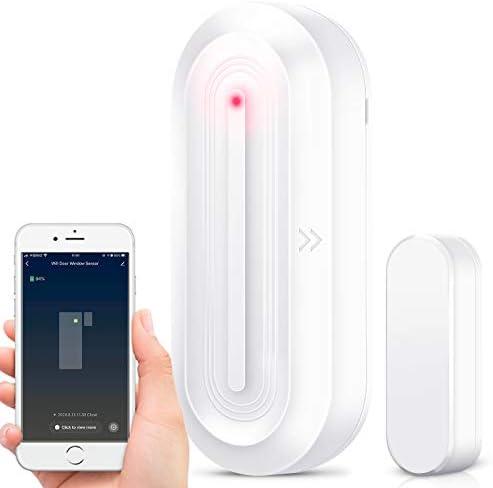 WiFi Door Window Sensor, Door Window Alarm Security System Compatible with Alexa Google Assistant, Wireless Doorbell Chime Sensor Burglar Alert for Home House Shop Bussiness with Motion Detectors