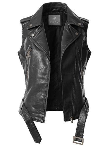Womens Black Leather Vest (LE3NO Womens Faux Leather Moto Biker Sleeveless Vest With Pockets)