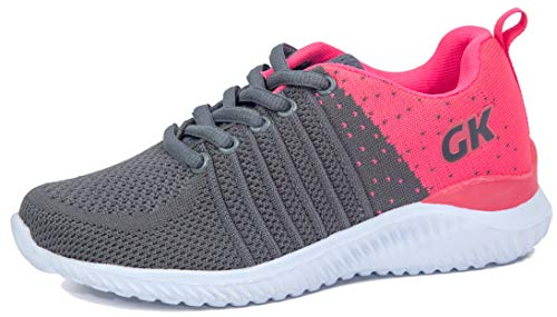 Kids Athletic Tennis Shoes - Little Kid Sneakers with Girl and Boy Sizes Grey/Fuchsia Size 3 Little Kid (Gris/Fucsia - 34) 3 M US