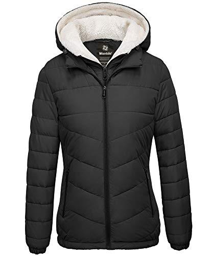 Wantdo Women's Quilted Winter Coats Hooded Warm Puffer Jacket with Fleece Hood