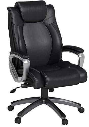 VANBOW Leather Memory Foam Office Chair - Adjustable Lumbar Support Knob and Tilt Angle High Back Executive Computer Desk Chair, Thick Padding for Comfort Ergonomic Design for Lumbar Support, Black
