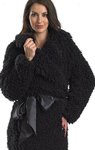 Slenderella luxe Ultra doux de Mongolie double usage House-Veste/Manteau doublé en Satin avec ceinture Noir