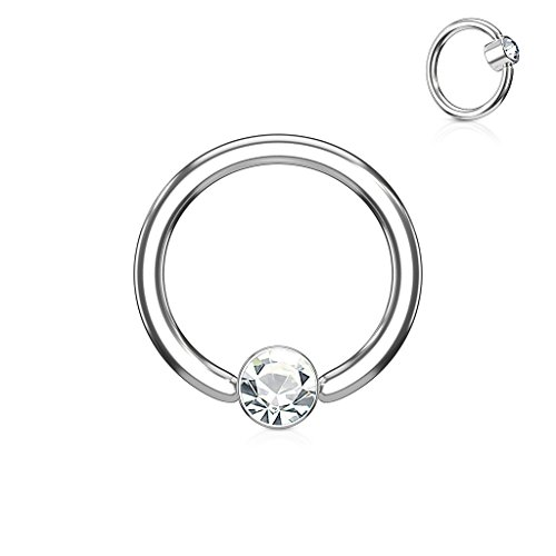 Inspiration Dezigns CZ Round Flat Cylinder Captive Hoop Ring (Sold Individually) (16G, L: 5/16