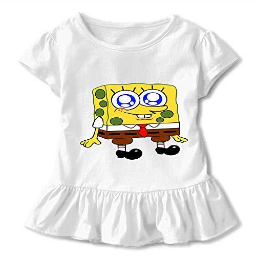 Girl's Breathable Quick Dry Short Sleeve Spongebob Round Neck Custom Shirts for Kids,Child,Girls 5T/6T-white