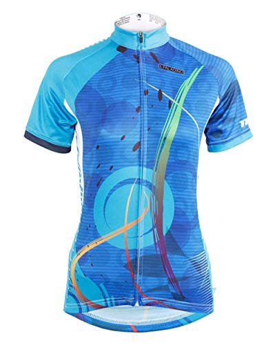 (QinYing Women's Short Sleeve Outdoor Bicycle Bike Cycling Jersey Top Blue)