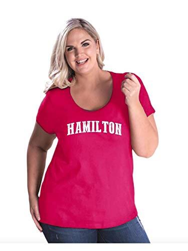 (Hamilton City Ontario Canada Traveler Gift Women's Curvy Plus Size Scoopneck Tee (18/20HTP) Hot)