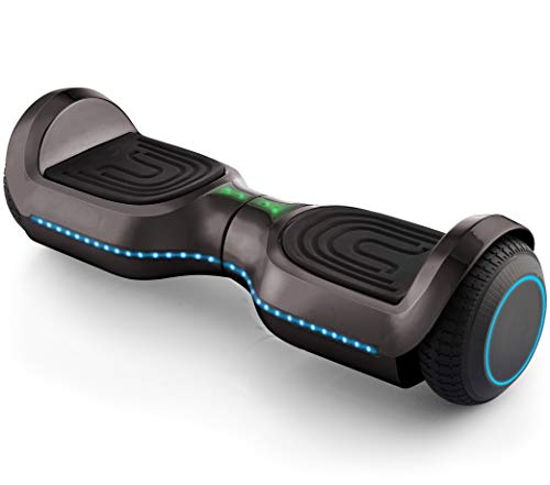 Superrio New Designed 6.5″ Bluetooth Hoverboard, Smart Self-Balanced Scooter UL-2272 Certified, Build-in Bluetooth Speaker,Colorful LED Wheels, LED Front Lights