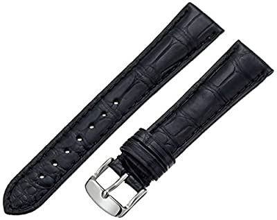 Hadley-Roma Men's MSM824RA-180 18-mm Black Genuine Alligator Leather Watch Strap from Hadley-Roma