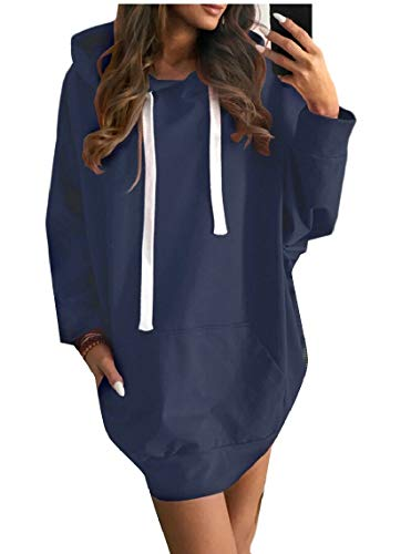 Dresses Loose Maweisong Maxi Pullover Blue Sweatshirts Causal Hoodie Women Sweaters xXwx0S