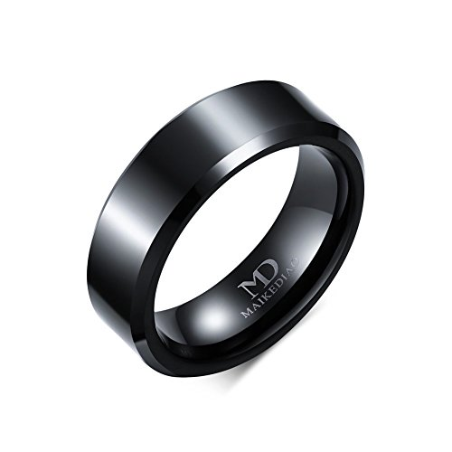 [8mm/6mm/4mm Black Tungsten Carbide Wedding Couple Rings Engagement Band For Men Women Beveled Polished Edge (6mm(tungsten),] (Pregnant Basketball Costume)