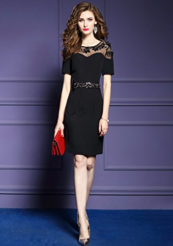 Dress Hip cotyledon Women`s Black Con Solid Color Body Dress Package n6wUEwrxq8