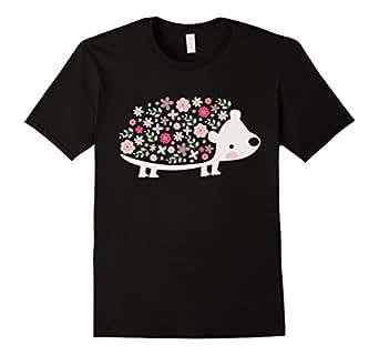 Mens Cute Hedgehog Shirt: Love Hedgehog Graphics Flowers T-Shirt 3XL Black