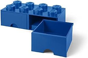 Room Copenhagen-40061731 Caja de Almacenaje Apilable, Ladrillo 8 pomos, 2 Cajones, 9.4 l, color azul (blue), 50 x 25 x 18 cm (Lego 40061731): Amazon.es: Juguetes y juegos