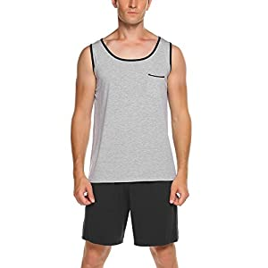 Ekouaer Men's Casual O-Neck Cotton Sleepwear Tank And Shorts Pajamas Set S-XXL