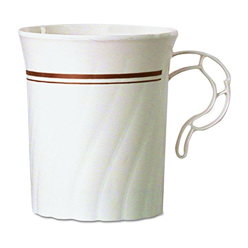 WNA CWM8192IPREM Masterpiece Plastic Mugs, 8 oz., Ivory with Gold Print (Case of 192) by WNA